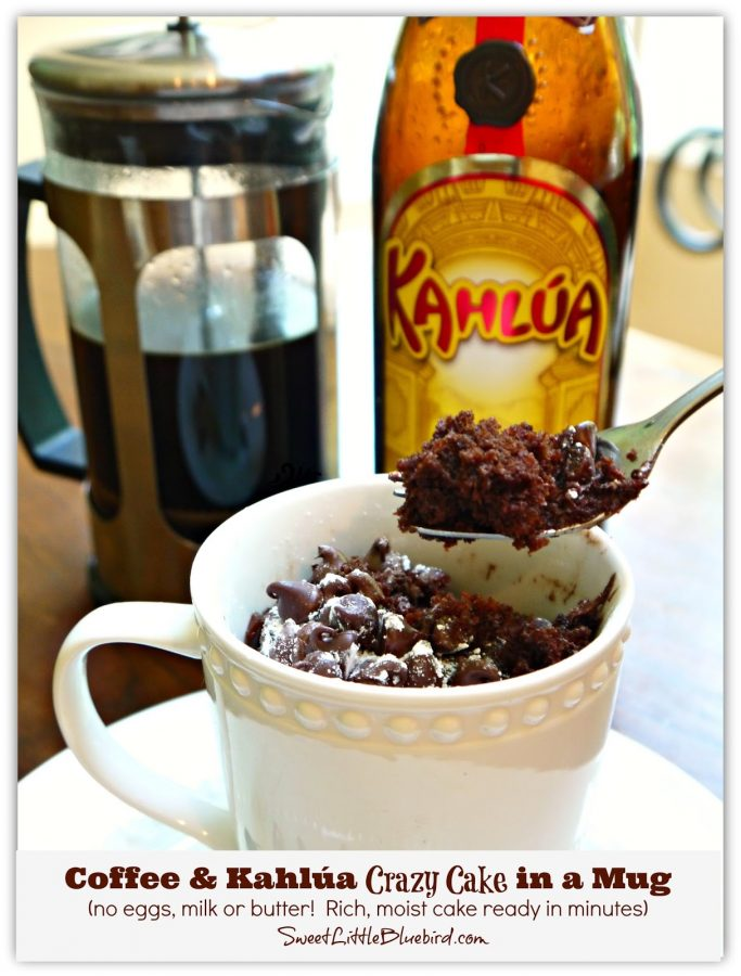 COFFEE & KAHLUA CRAZY MUG CAKE - Sweet Little Bluebird