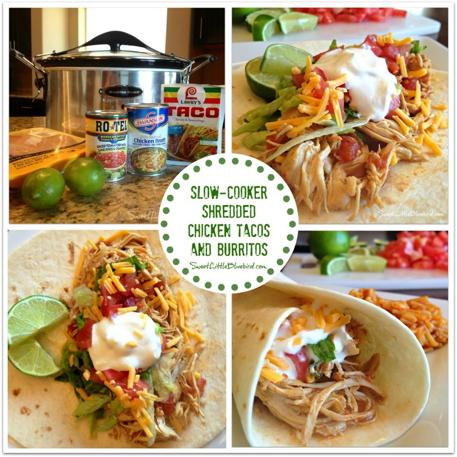 SLOW-COOKER SHREDDED CHICKEN TACOS from Sweet Little Bluebird